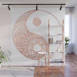 Rose Gold Yin Yang Wall Mural
