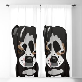 Cute Boston Terrier Pup Graphic Style Blackout Curtain