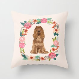 cocker spaniel dog floral wreath dog gifts pet portraits Throw Pillow