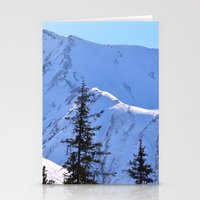 skiing Stationery Cards featuring Back-Country Skiing  - V by Alaskan Momma Bear