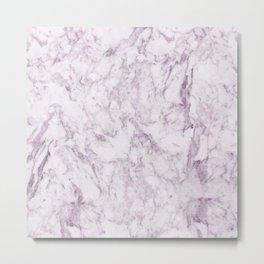 Elegant modern vintage white lilac violet marble Metal Print