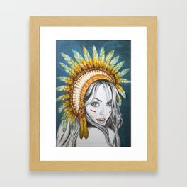Red Indian Beauty Framed Art Print