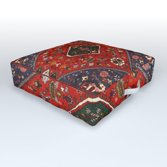 N65 - Colored Floral Traditional Boho Moroccan Style Artwork Outdoor Floor Cushion