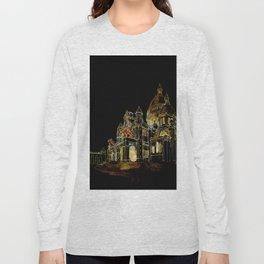 Paris Basilica Sacre Coeur at Night Long Sleeve T-shirt
