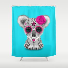 Pink and Blue Day of the Dead Sugar Skull Baby Koala Bear Shower Curtain
