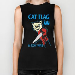 Cat Flag Meow War  Biker Tank