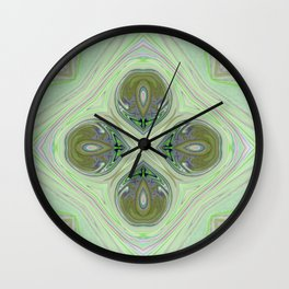 Minty Green and Pearl Diamond Abstract Wall Clock
