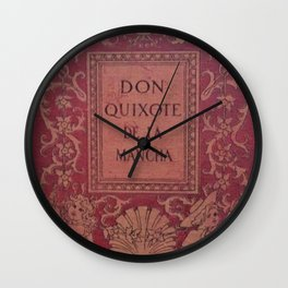 Antique Book Cover * Literacy Art for Book Lovers * Don Quixote * Red * Gold #donquixote Wall Clock