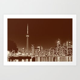 Downtown Toronto Vintage Wall paper Art Print