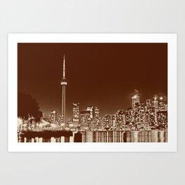 Downtown Toronto Vintage Wall paper Art Print