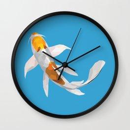 Geo Koi White & Golden Wall Clock