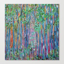 Teal Blue Abstract Forest Landscape, Forest Secrets, Fantasy Fairy Art Canvas Print
