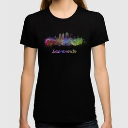Sacramento V2 skyline in watercolor T-shirt