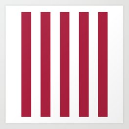 Deep carmine red - solid color - white vertical lines pattern Art Print