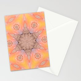 Petrified Wood with a geometric kaleidoscopic design Stationery Cards