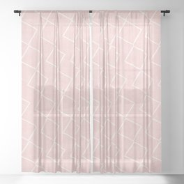 Tilting Diamonds in Pink Sheer Curtain