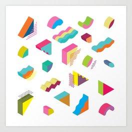 blocks isometric Color Design elements in the Memphis style Art Print