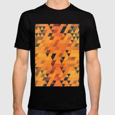 Gold Pattern Black Mens Fitted Tee SMALL