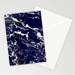 Modern Navy blue watercolor marble pattern Stationery Cards
