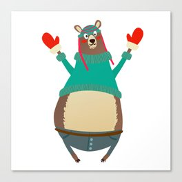 Cute Christmas Bear Canvas Print