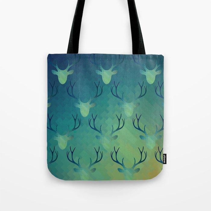 Aqua Antlers Pattern Tote Bag