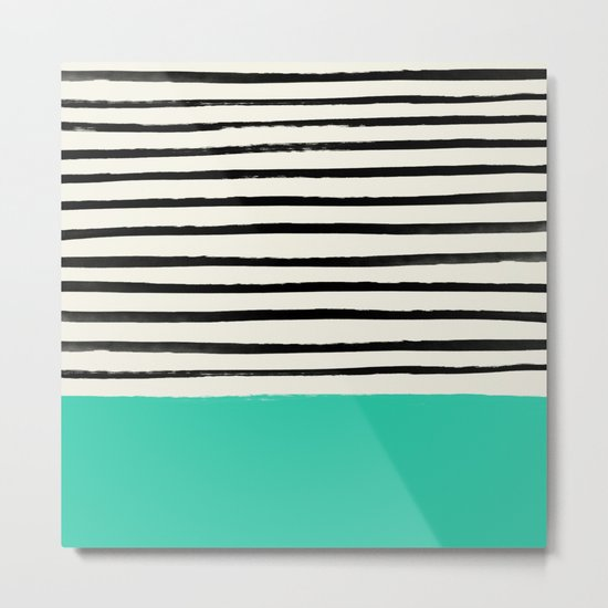 Mint x Stripes Metal Print