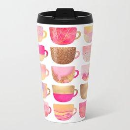 Pretty Pink Coffee Cups Metal Travel Mug