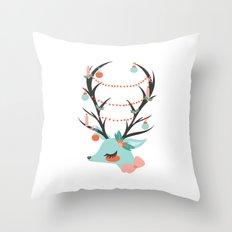 Retro Reindeer Throw Pillow