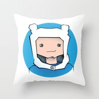 finn Throw Pillows featuring Finn by Shay Bromund