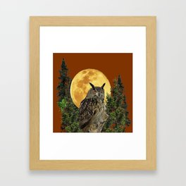 BROWN WILDERNESS OWL WITH FULL MOON & TREES Framed Art Print