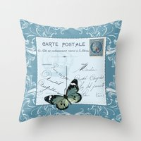 postcard Throw Pillows featuring Blue postcard by Marion de Lauzun