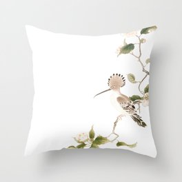 Japan Spring Flowers and Birds Throw Pillow