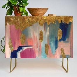 Gold Leaf & Indigo Blue Abstract Credenza