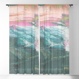 Meditate [4]: a vibrant, colorful abstract piece in bright green, teal, pink, orange, and white Sheer Curtain
