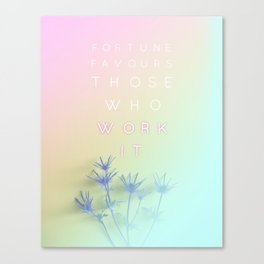 Fortune Favours Those Who Work It - rainbow pastel typography quote Canvas Print