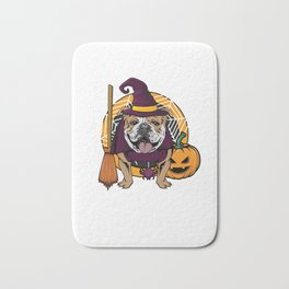 Witch Bulldog Dog Costume For Spooky Halloween Bath Mat