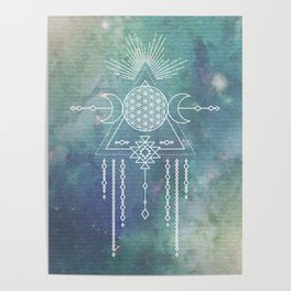 Mandala Flower of Life in Turquoise Stars Poster