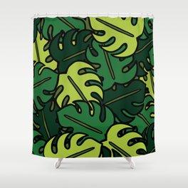 Monstera Leaf Pattern Shower Curtain
