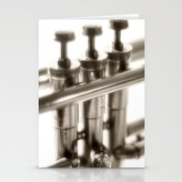 trumpet Stationery Cards featuring trumpet by laika in cosmos