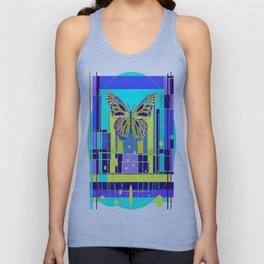 Arty Monarch Butterfly Landscape Abstract Unisex Tank Top