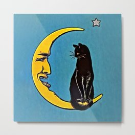 Black Cat & Moon Metal Print