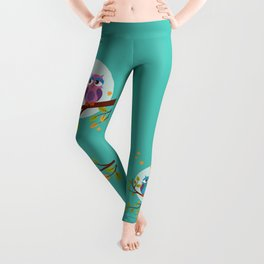 Sleepy owls in love Leggings