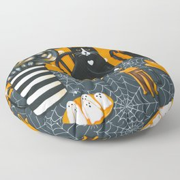 Halloween French Press Coffee Cats Floor Pillow
