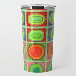 Green Grid filled with Circles and intense Colors Travel Mug