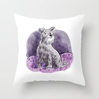 schnauzer Throw Pillows featuring Schnauzer by Renee Kurilla