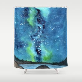 """""""Riverside Galaxy"""" watercolor landscape painting Shower Curtain"""