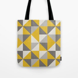 Retro Triangle Pattern in Yellow and Grey Tote Bag