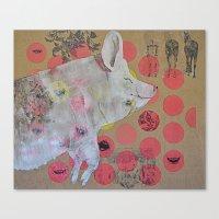 pig Canvas Prints featuring pig by ferzan aktas