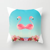 flamingos Throw Pillows featuring Flamingos by Juliana Zimmermann
