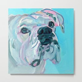 Bella the White Boxer Girl Metal Print